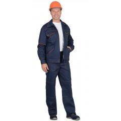 """Костюм """"ПРОФИ-2"""" : куртка, брюки (100% узбекская саржа) синий с оранжевым кантом"""