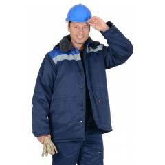 """Куртка """"БРИГАДИР"""" мужская с меховым ворот. синий с васильковым и СОП"""