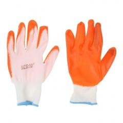 Перчатки нейлоновые с нитриловым покрытием (облив) оранжевые