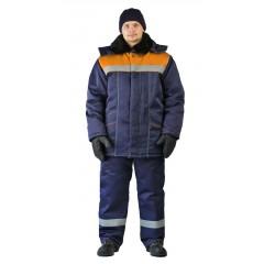 "Костюм зимний ""ВЬЮГА"" куртка/полукомб. цвет: т.синий/оранжевый"