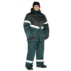 """Костюм зимний """"ВЕКТОР"""" куртка/полукомб. цвет: т.зеленый/черный"""