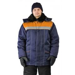 """Костюм зимний """"ВЬЮГА"""" куртка/полукомб. цвет:т.синий/оранж"""