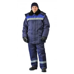 "Костюм зимний ""ВЬЮГА"" куртка/полукомб. цвет:т.синий/василек"