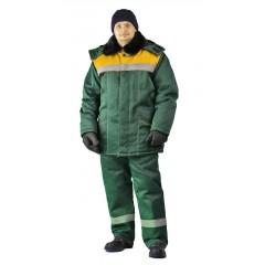"Костюм зимний ""ВЬЮГА"" куртка/полукомб. цвет:т.зелен/желт"