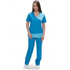 Костюм женский №420 (тк.ТиСи) DoctorBIG, бирюзовый/голубой