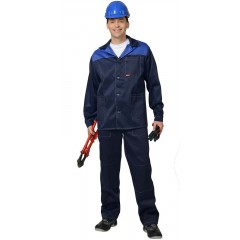 "Костюм ""Аспект-Стандарт"" куртка длин., брюки темно-синий с васильковым"
