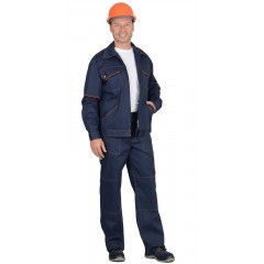 """Костюм """"Профи-2"""": куртка, брюки (100% узбекская саржа) синий с оранж. кантом"""