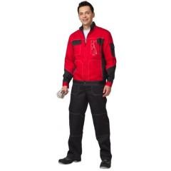 """Костюм """"Гранд"""" летний: куртка, п/комб. черный с красным тк.CROWN-230"""