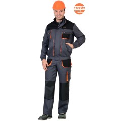 """Костюм """"МАНХЕТТЕН"""" куртка короткая т-серая с оранж. и чер. БРЮКИ."""