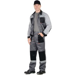 """Костюм """"Лигор"""" куртка, брюки  т.серый со св. серым и черным СОП 50 мм р.88-92/170-176"""