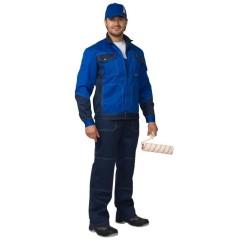 """Костюм """"Гранд"""" летний: куртка, П/К синий с васильковым тк. CROWN-230"""