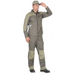 """Костюм """"Вест-Ворк"""" куртка удлиненная с брюками т.оливковый со св.оливковым"""