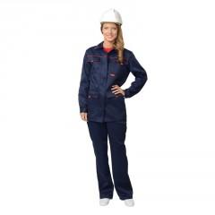 """Костюм """"Ударница"""" женский:куртка, п/комб.тёмно-синий с красным кантом"""