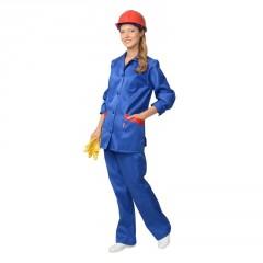 """Костюм """"Золушка"""" женский: куртка, брюки васильковый с красным кантом"""