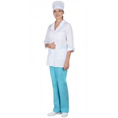 "Костюм ""Жасмин"" женский: куртка, брюки, колпак белый со светло-бирюзовым"