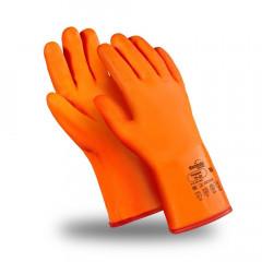 Перчатки ПЛАМЯ/(Арктика) утепленные с обливкой ПВХ оранжевого цвета, удлиненная крага