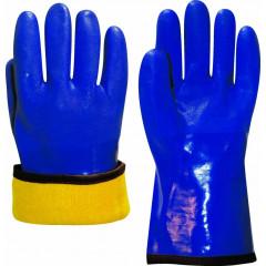 Перчатки БАРРЕЛЬ утепленные с обливкой ПВХ синего цвета, удлиненная крага