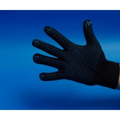 Перчатки х/б с ПВХ точка 5 нити 10 класс вязки                             Цвет: черный