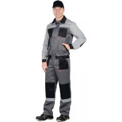 """Костюм """"Лигор"""" куртка, брюки  т.серый со св. серым и черным СОП 50 мм"""