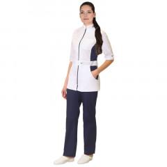 """Костюм """"БАРБАРА"""" женский: блуза, брюки, белый с т-синим"""