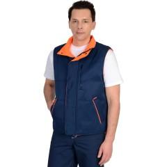 """Жилет """"ПРОФИ"""" утеплённый, синий подкладка Таффета оранжевая"""