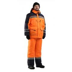 """Костюм мужской """"Зимник-Сигнал"""" зимний оранжевый с т.синим, 100% полиэфир"""