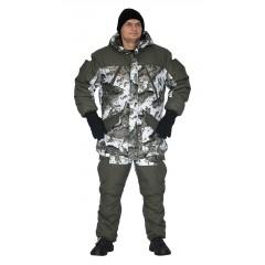 """Костюм зимний «ГРАСК» куртка/полукомб. цв: кмф """"белые соты""""/т.олив,"""