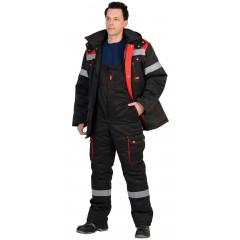 """Костюм """"ТИТАН"""" зимний: куртка дл., п/комб. черный с красным и СОП-50мм."""